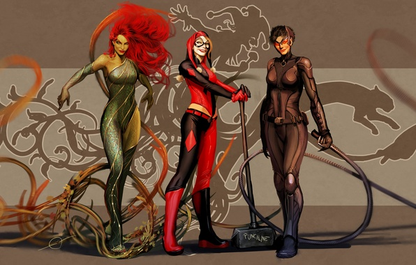 Картинка art, dc comics, Catwoman, Selina Kyle, Harley Quinn, Poison Ivy, nebezial, Dr. Pamela Lillian Isley