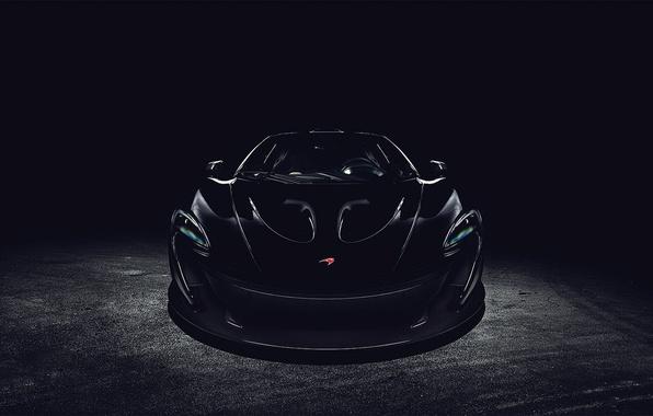 Картинка чёрный, McLaren, перед, black, front, макларен