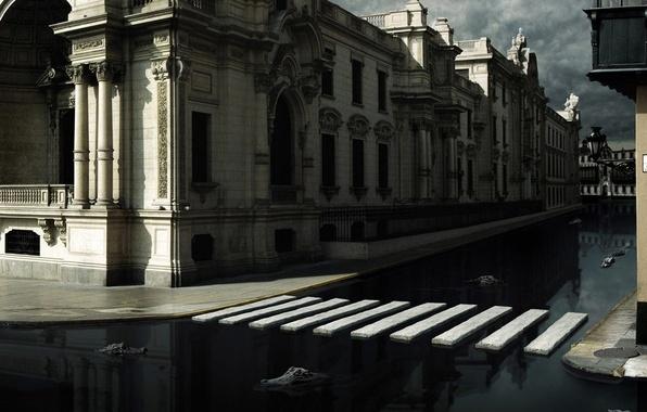 Картинка город, Вода, крокодилы, переход