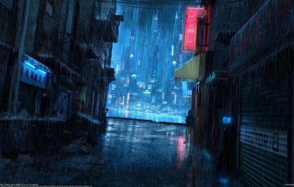 Картинка ночь, город, дождь, Akimov Mikhail, Михаил Акимов