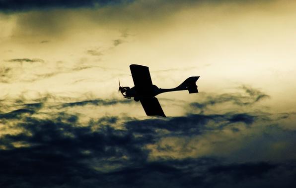 Картинка небо, цвета, облака, самолет, фон, обои, Фото, полёт, картинка