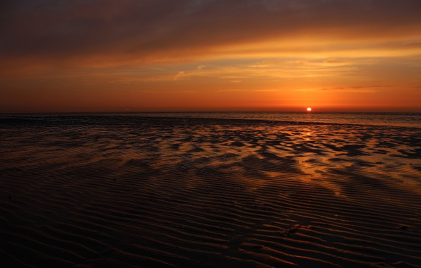 Картинка море, солнце, закат, горизонт, Sunset