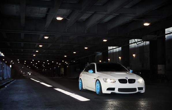 Картинка белый, бмв, BMW, тоннель, white, E92, IND