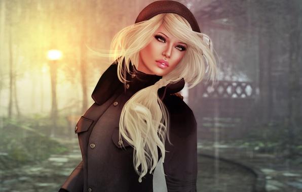 Картинка девушка, лицо, рендеринг, фон, волосы, блондинка, губы, пальто