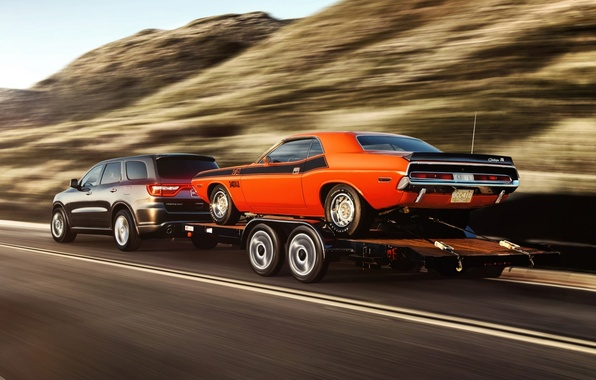 Картинка дорога, фон, Додж, Dodge, Challenger, вид сзади, 1970, 340, and, Muscle car, Мускул кар, Durango, …