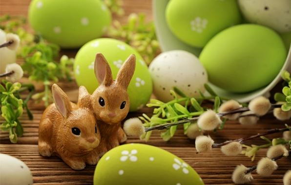Картинка яйца, Пасха, кролики, верба, flowers, spring, Easter, eggs