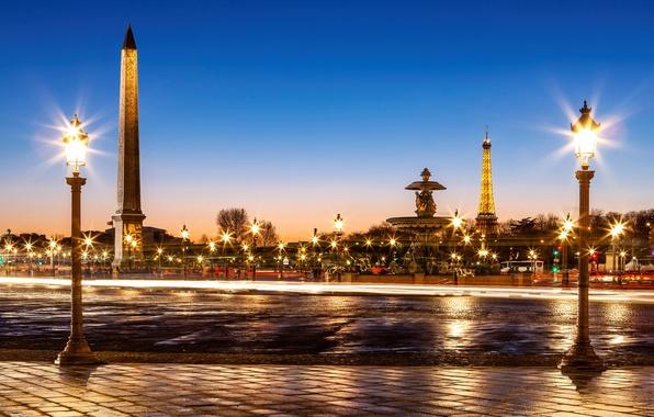 Картинка дорога, мост, город, Франция, Париж, вечер, брусчатка, выдержка, освещение, фонари, фонтан, Эйфелева башня, Paris, France, …