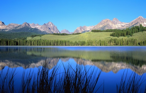 Картинка небо, деревья, пейзаж, горы, природа, река