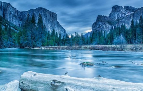 Картинка лед, зима, лес, облака, деревья, пейзаж, горы, озеро, скалы, ель, бревно, Yosemite, National Park, Sierra …