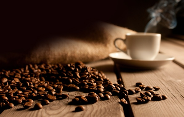 Картинка доски, кофе, чашка, пол, зёрна