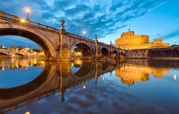 Картинка небо, вода, город, отражение, река, вечер, освещение, Рим, Италия, Italy, Rome, Ватикан, Vatican, St. Angelo …