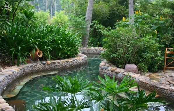 Картинка зелень, пейзаж, природа, путешествия, отдых, Китай, островХайнань, источники
