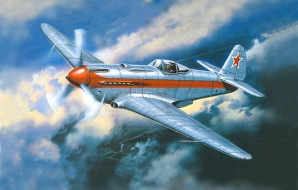 Картинка небо, облака, рисунок, истребитель, арт, полёт, самолёт, задание, советский, ВоВ