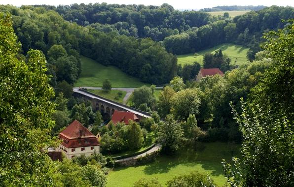 Картинка дорога, зелень, лес, трава, деревья, мост, дома, Германия, Бавария, речка, вид сверху, Rothenburg