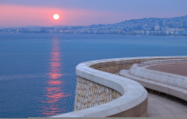 Картинка море, закат, город, Франция, набережная, France, Лазурный берег, French Riviera, Французская Ривьера, Cote D'Azur
