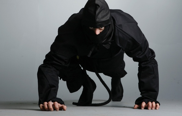 Картинка ниндзя, ninja, shinobi, черный костюм
