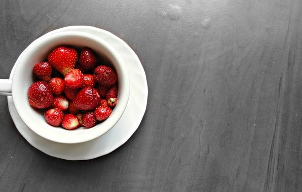 Картинка ягоды, еда, черно-белая, Клубника, чашка
