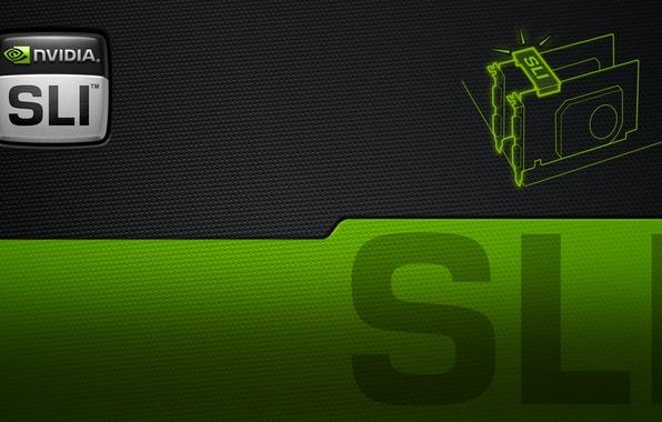 Картинка green, nvidia, logo, black, sli