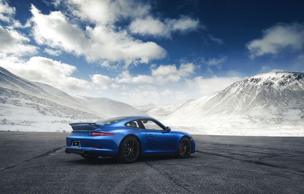 Картинка 911, Porsche, Blue, Mountain, GTS, Supercar, Rear