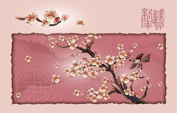 Картинка дерево, птица, сакура, иероглиф