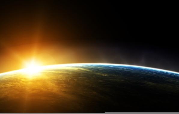 Картинка солнце, космос, планета, Земля, орбита