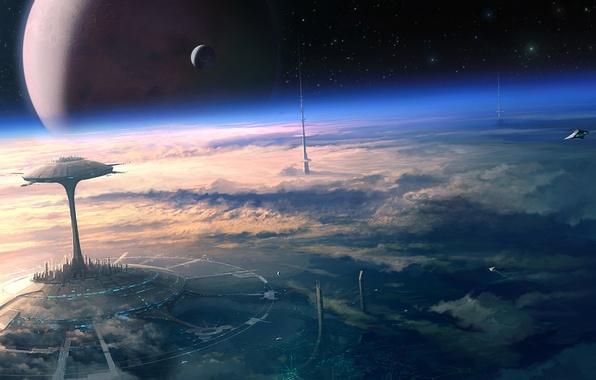 Картинка космос, облака, будущее, планета, спутник, звёзды, орбита, Арт, космические корабли, город будущего