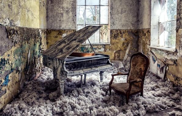 Картинка комната, окна, пианино
