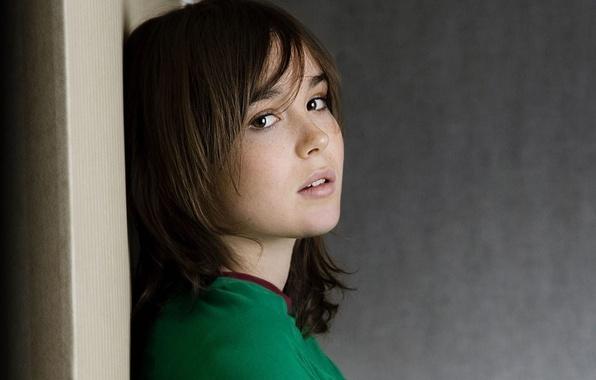 Картинка girl, brown eyes, face, brunette, look, actress, Ellen Page