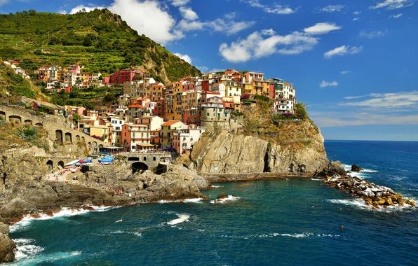 Картинка море, небо, город, скала, дома, бухта, Италия, Манарола, Чинкве-Терре