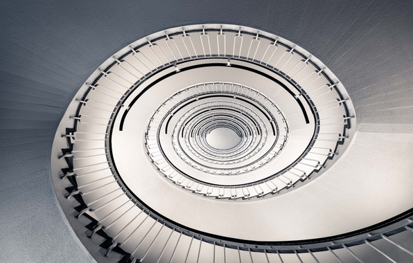 Картинка spiral, staircase, architecture, stairs, handrail