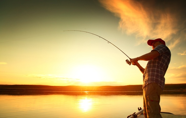 Картинка light, sunset, water, man, fishing