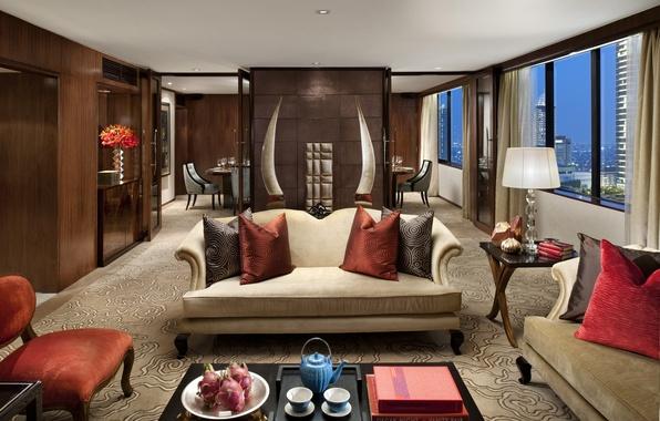 Картинка дизайн, город, стиль, комната, диван, окна, интерьер, подушки, Индонезия, кресла, коричневый, бежевый, гостиная, столики, Джакарта