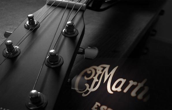 Картинка макро, музыка, гитара, струны, инструмент, гриф, звучание