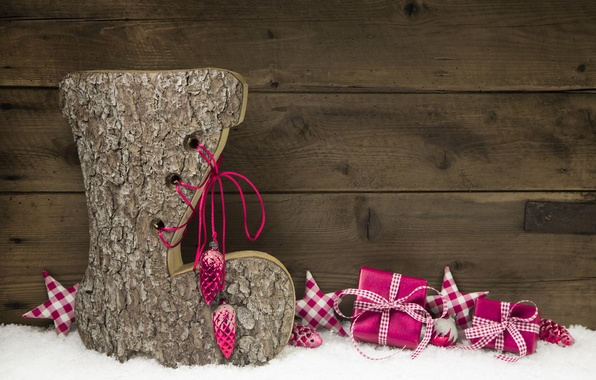 Картинка Рождество, Christmas, wood, snow, decoration, gifts