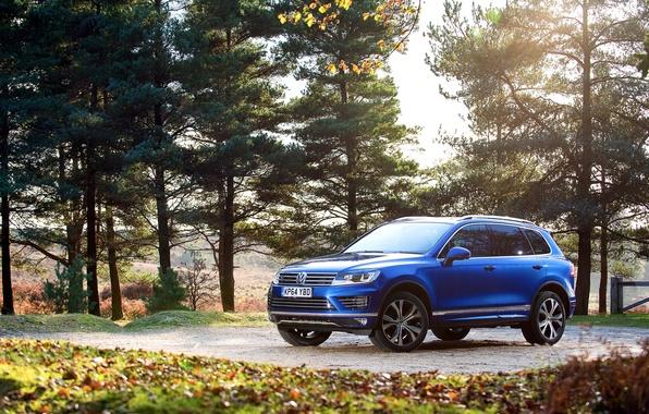 Картинка фото, голубой, Volkswagen, автомобиль, Touareg, 2014, R-Line
