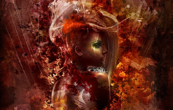 Картинка взгляд, девушка, абстракция, волосы, спина, арт, профиль