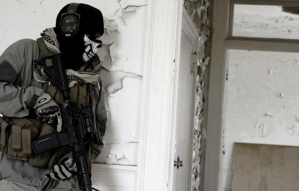 Картинка дом, череп, двери, очки, солдат, призрак, автомат, modern warfare 2, штурм, call of duty, ghost, …