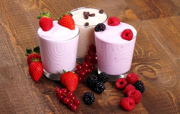 Картинка ягоды, малина, кофе, молоко, клубника, смородина, ежевика, strawberry, coffee, berries, raspberry, йогурт, yogurt