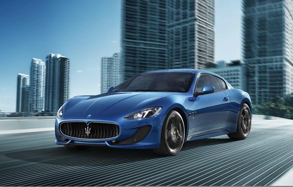 Картинка дорога, синий, город, движение, спорт, Maserati, суперкар, Мазерати, Car, Blue, Sport, Granturismo, Грантуризмо