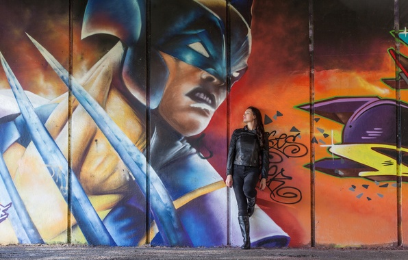 Картинка девушка, стиль, стена, граффити