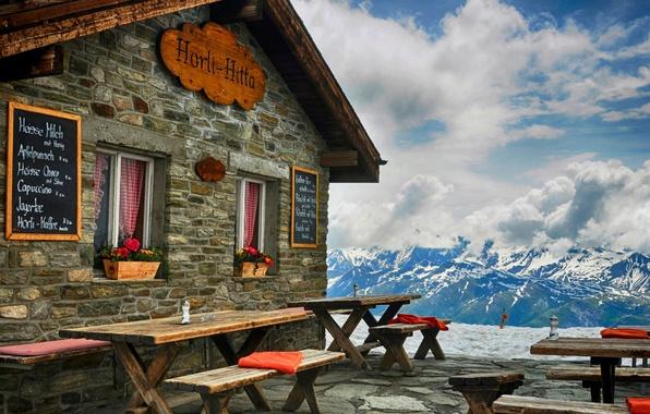 Картинка зима, небо, снег, горы, природа, вид, хижины, кабина, отель, архитектура, sky, nature, winter, mountains, view, …