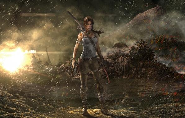 Картинка девушка, дождь, корабль, гора, Tomb Raider, Лара Крофт, Расхитительница гробниц