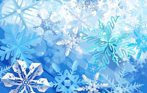 Картинка зима, снежинки, синий