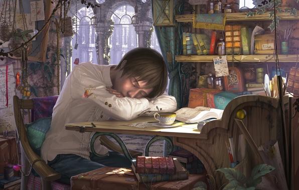 Картинка цветы, стол, бардак, книги, сон, чашка, парень, art, reishin