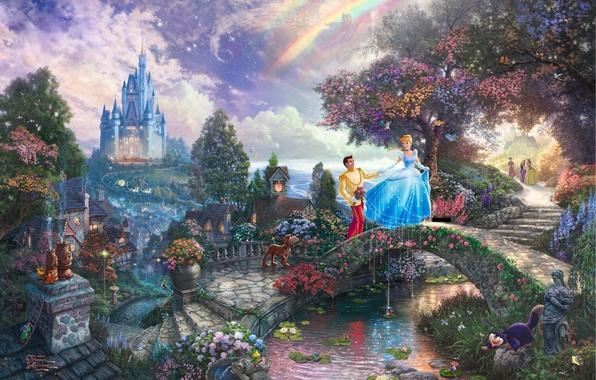 Картинка замок, сказка, фея, принц, живопись, мостик, bridge, art, Томас Кинкейд, painting, castle, Золушка, Walt Disney, …
