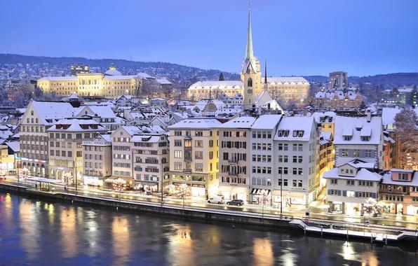 Картинка зима, небо, снег, горы, огни, река, дома, вечер, Швейцария, Цюрих