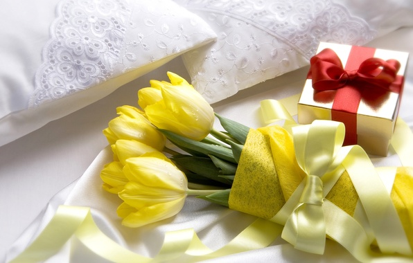 Картинка цветы, подарок, букет, желтые, лента, тюльпаны, коробочка