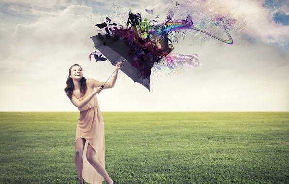 Картинка девушка, облака, радость, абстракция, газон, смех, зонт, платье, туфли, шатенка