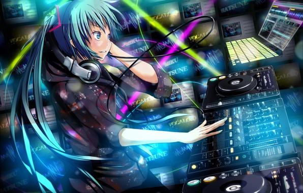 Картинка девушка, музыка, наушники, vocaloid, hatsune miku, вокалоид, студия