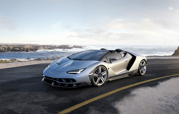 Картинка дорога, car, небо, Roadster, Lamborghini, суперкар, road, sky, красавец, ламборгини, Centenario
